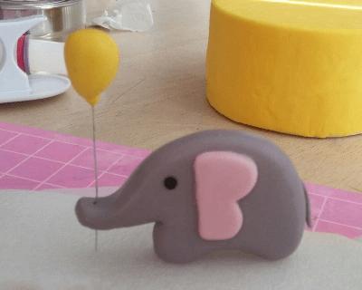 翻糖小象及氣球蛋糕裝飾做法 - EC Bakes