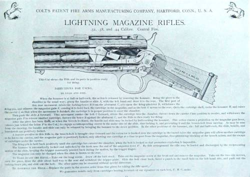 small resolution of colt purchased the patent and refined eliot s design further and in 1884 introduced the new rifle as the new lightning magazine rifle