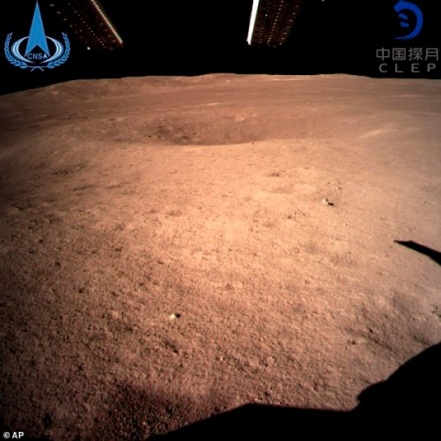 A never-before-seen 'close range' image taken by the Chinese spacecraftChang'e 4 of the surface of the far side of the moon
