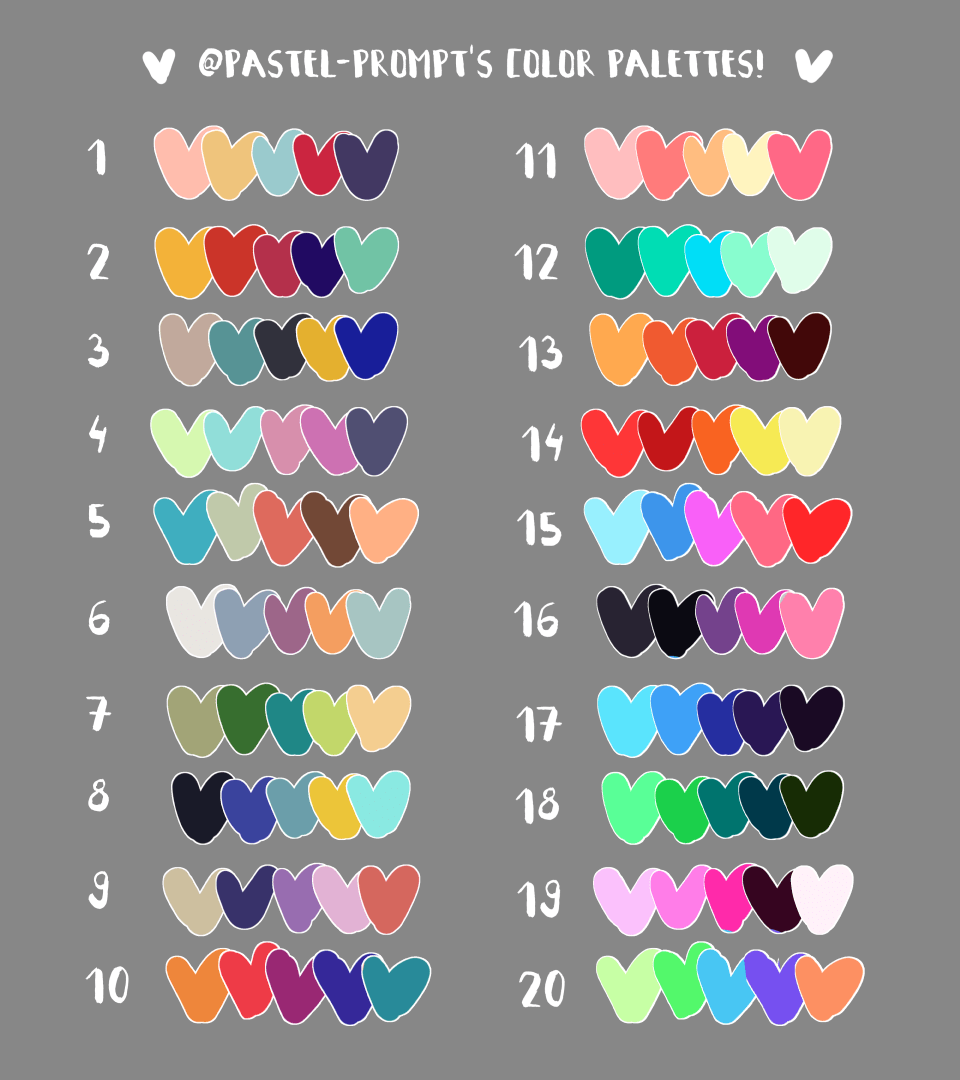 Please Feel Free To Use These Color Palettes As Personal Prompts Or Use Them For Requests