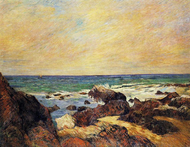 """huariqueje: """" Les Rochers dans la mer - Paul Gauguin, 1886 French, 1848-1903 Oil on canvas, 71x92cm """""""