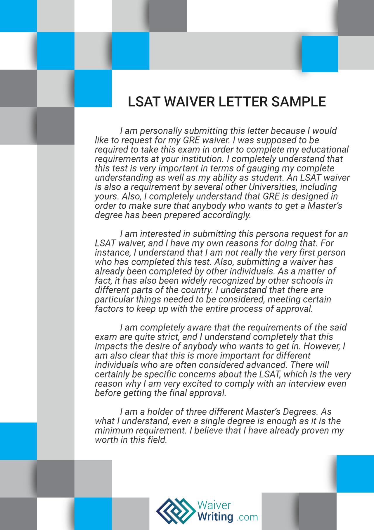 waiver letter samples