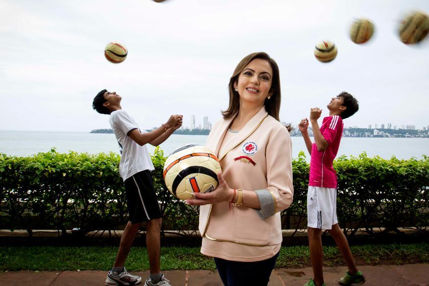 Nita Ambani entering the Badminton court for the women's singles finals.