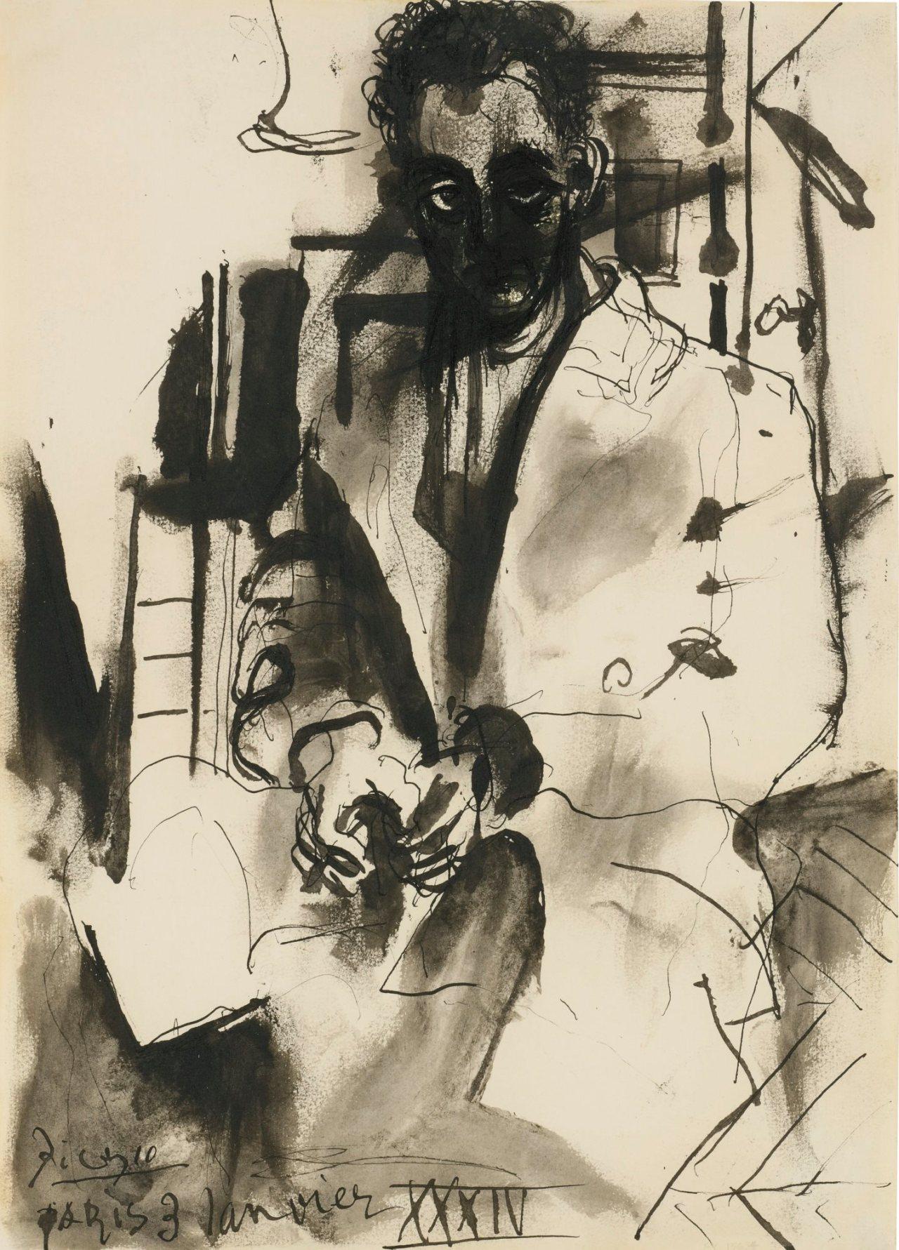 Pablo Picasso (1881-1973) Portrait de Man Ray, 1934