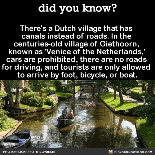 There's a Dutch village that has canals instead of roads. In the centuries-old village of Giethoorn, known as 'Venice of the Netherlands,' cars are prohibited, there are no roads for driving, and tourists are only allowed to arrive by foot, bicycle,...