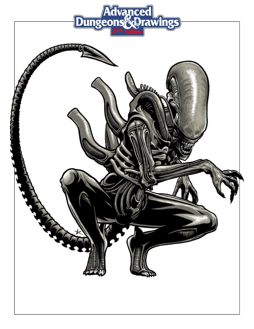 Advanced Dungeons & Drawings — Xenomorph, Drone by Eugene Kaik