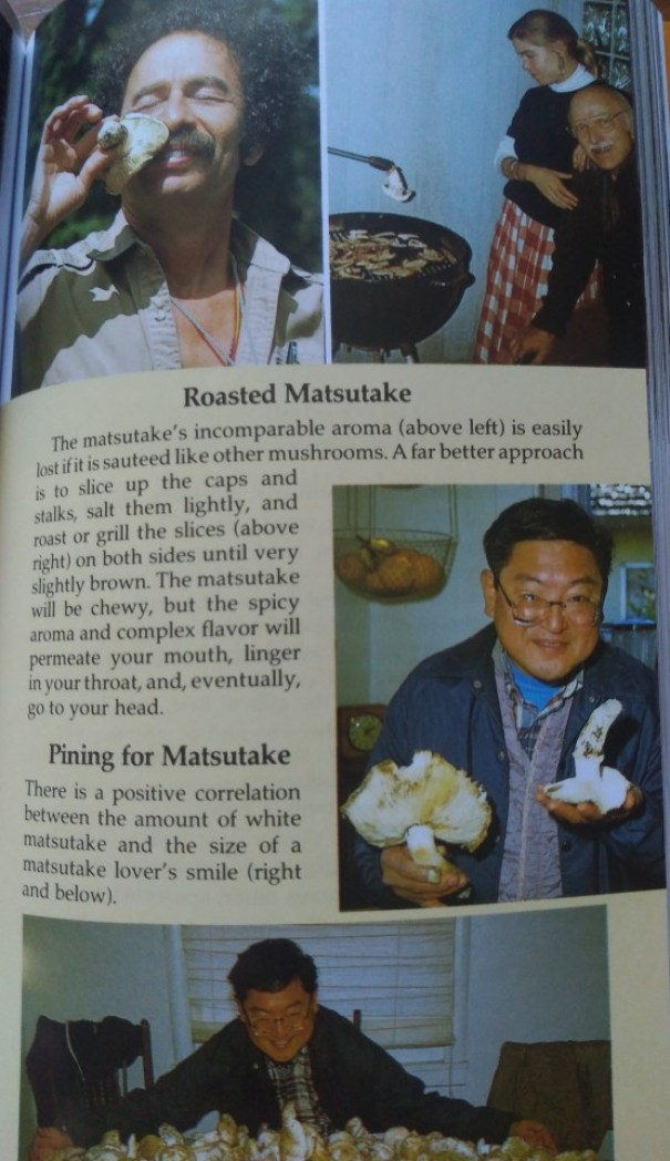 A smiling man sniffing a mushroom, a man and a woman grilling mushrooms, and two photos of a man with glasses surrounded by mushrooms.