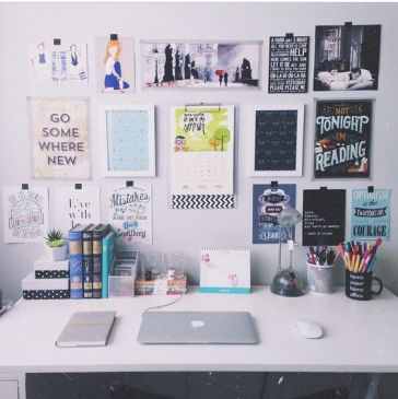 Picture Frame Set Up Above Desk with Laptop on Clique Tips
