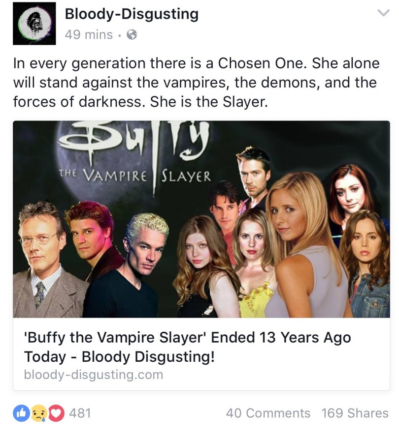Bloody Disgusting reminded us all today: 13 years ago was when Buffy the Vampire slayer ended.. I never really liked Buffy much, except the show Once more with Feeling. My friend, a big Buffy fanatic, a fairly wrote a series on my website heh where...