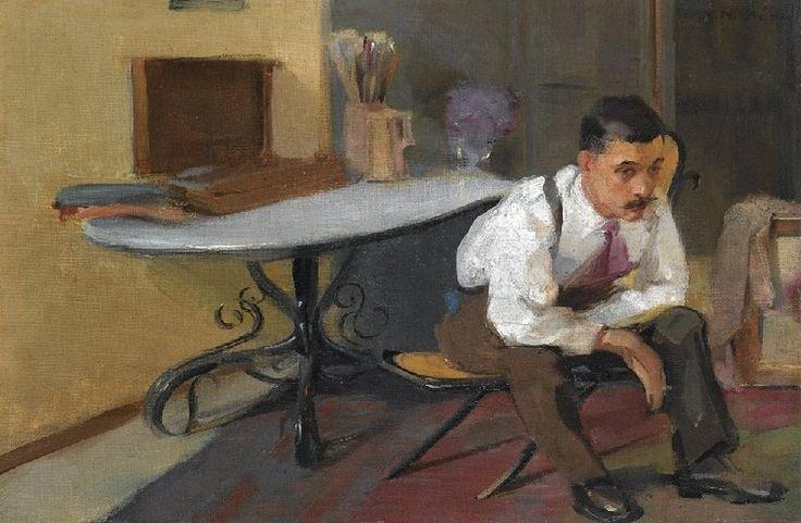 "huariqueje:""  The Artist in his Studio - Nikolaos Lytras n/dGreek 1883-1927Oilon canvas"""