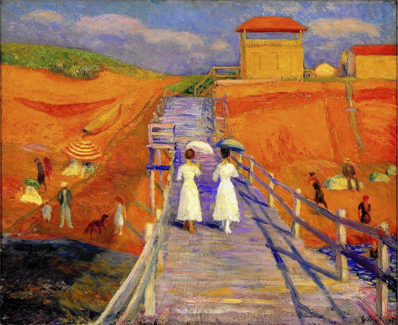 """urgetocreate: """" William Glackens, Cape Cod Pier, 1908 """""""