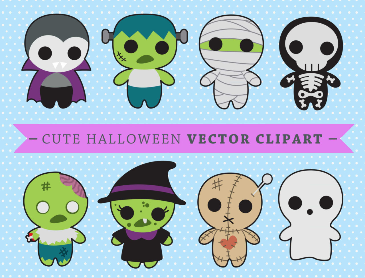 hight resolution of premium vector clipart kawaii spooky halloween halloween monsters clipart high quality vectors
