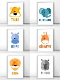 Modern kids and nursery wall art prints, Safari ...
