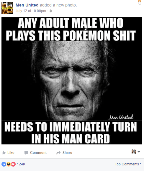"wolfpratt: "" imagine having masculinity so fragile, that you complain about other men playing a video game "" Course, give one of those Pokemon a gun, and watch those same man-babies racing to download their copy of Grand Theft Pokemon or whatever."