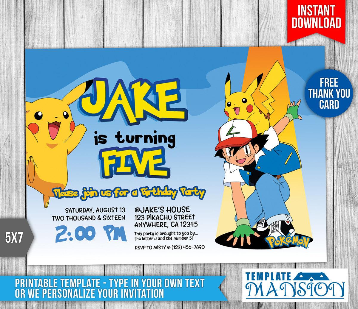 pokemon card birthday invitation template
