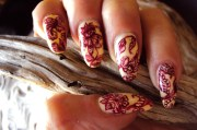 red toile fabric nails