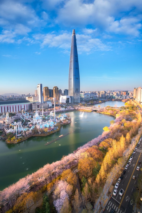 f0b6193e20468c Sunset Over Cherry Blossom Park And Tower Back… – Skylines