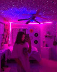 aesthetic room led lights inspo bedroom neon rooms trippy decoration cute bedrooms light strips baddie teen idea decor strip remote