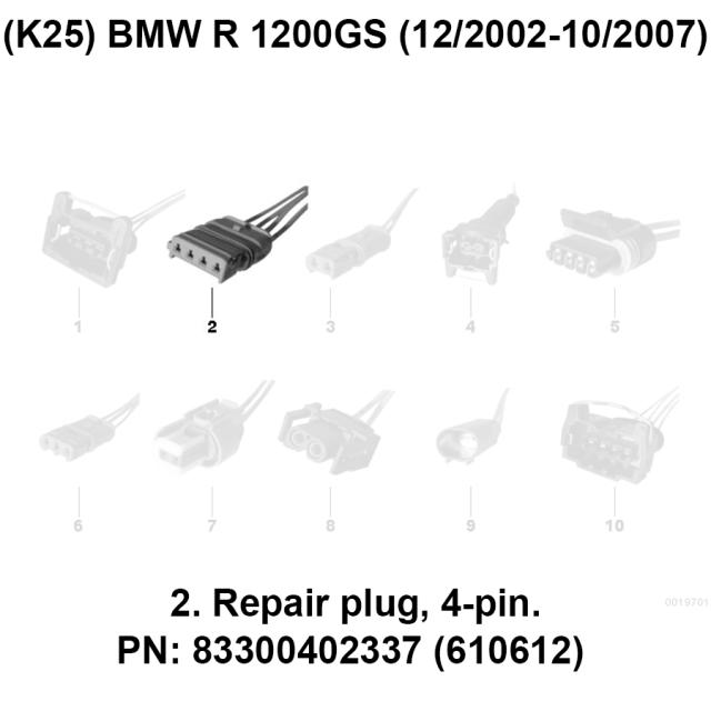 Partes BMW R 1200 GS — Repair plug, 4-pin PN: 83300402337