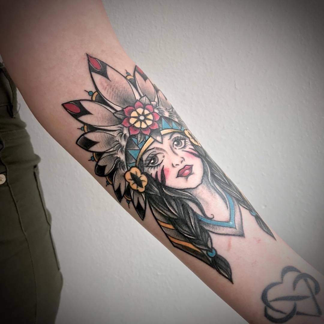 Traditional Native American Girl Tattoo