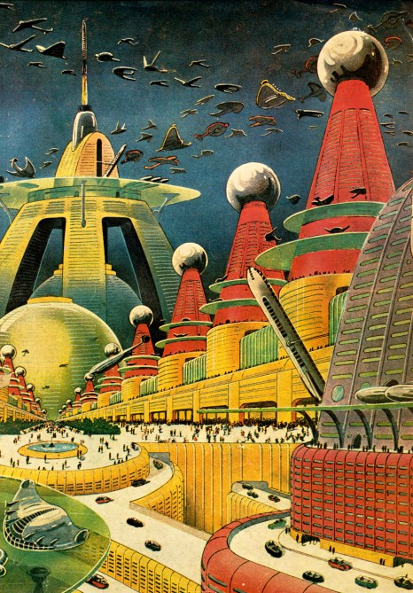 illustration cité futurise Frank Rudolph Paul science fiction