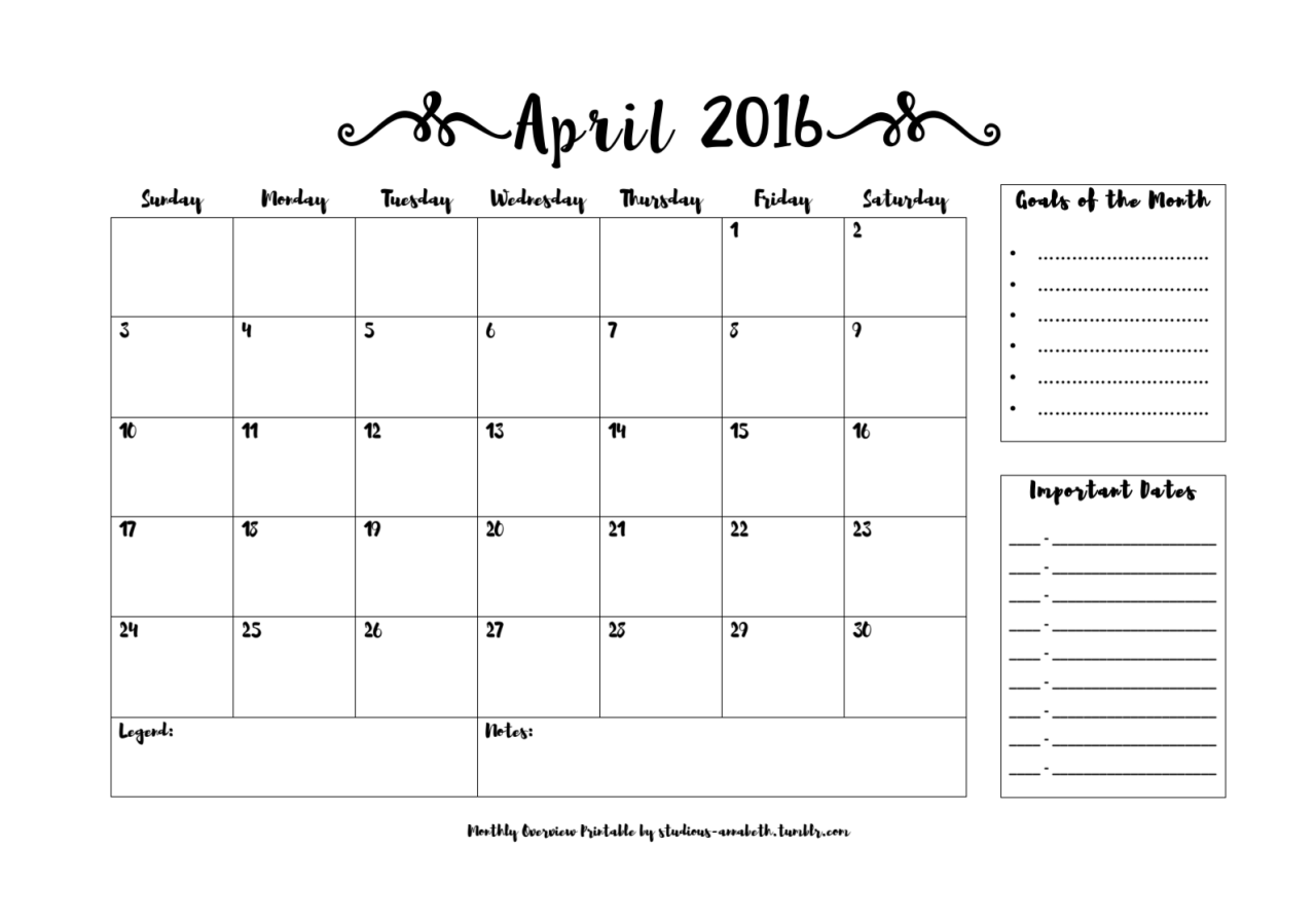 Monthly Printables 2