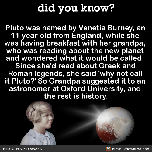 Pluto was named by Venetia Burney, an 11-year-old from England, while she was having breakfast with her grandpa, who was reading about the new planet and wondered what it would be called. Since she'd read about Greek and Roman legends, she said 'why...