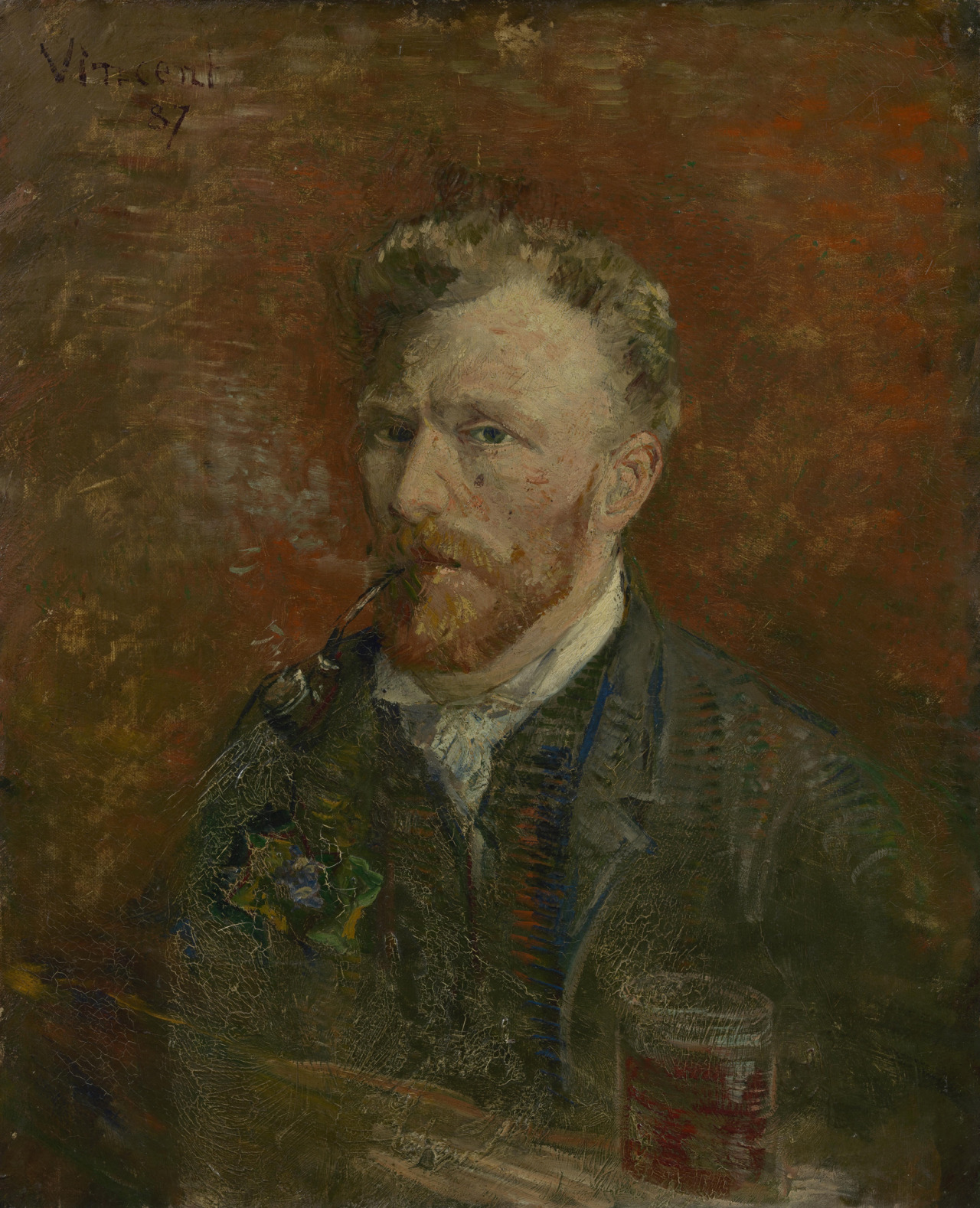 "thunderstruck9: "" Vincent Van Gogh (Dutch, 1853-1890), Self-Portrait with Glass, Paris, January 1887. Oil on canvas, 61.1 x 50.2 cm. Van Gogh Museum, Amsterdam. """
