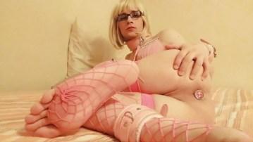 sexy crossdresser in pink fishnet