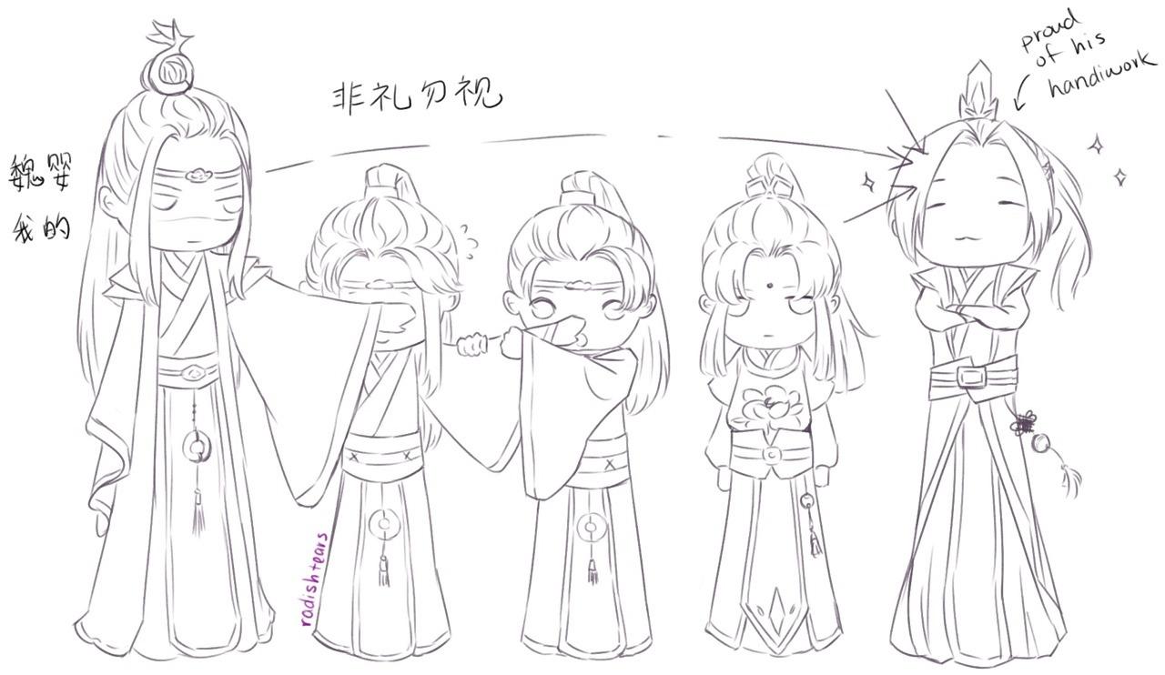 radish — New hairstyle, part 2? Jiang Cheng braided his...