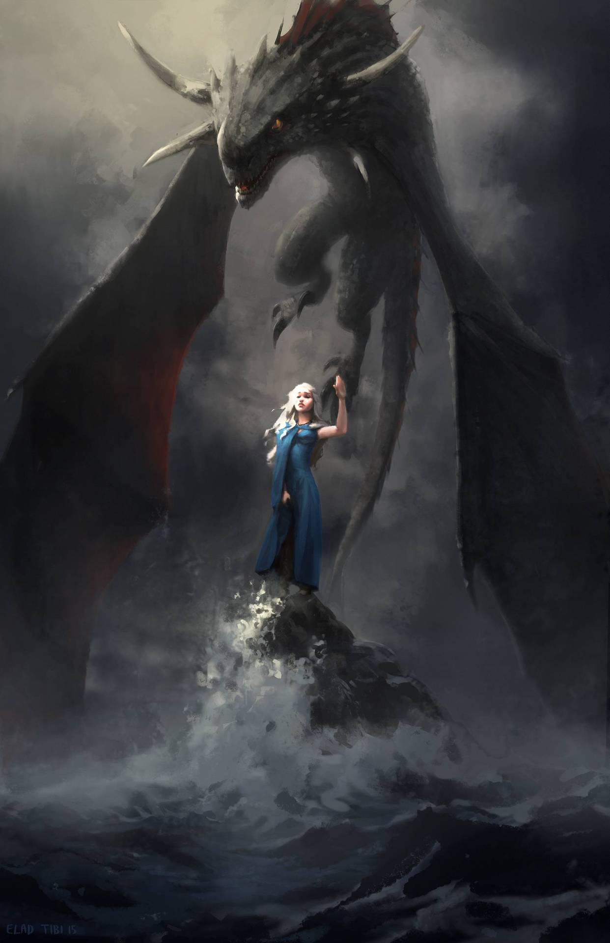 Badass Illustration of Daenerys and Drogon by captainsunshines