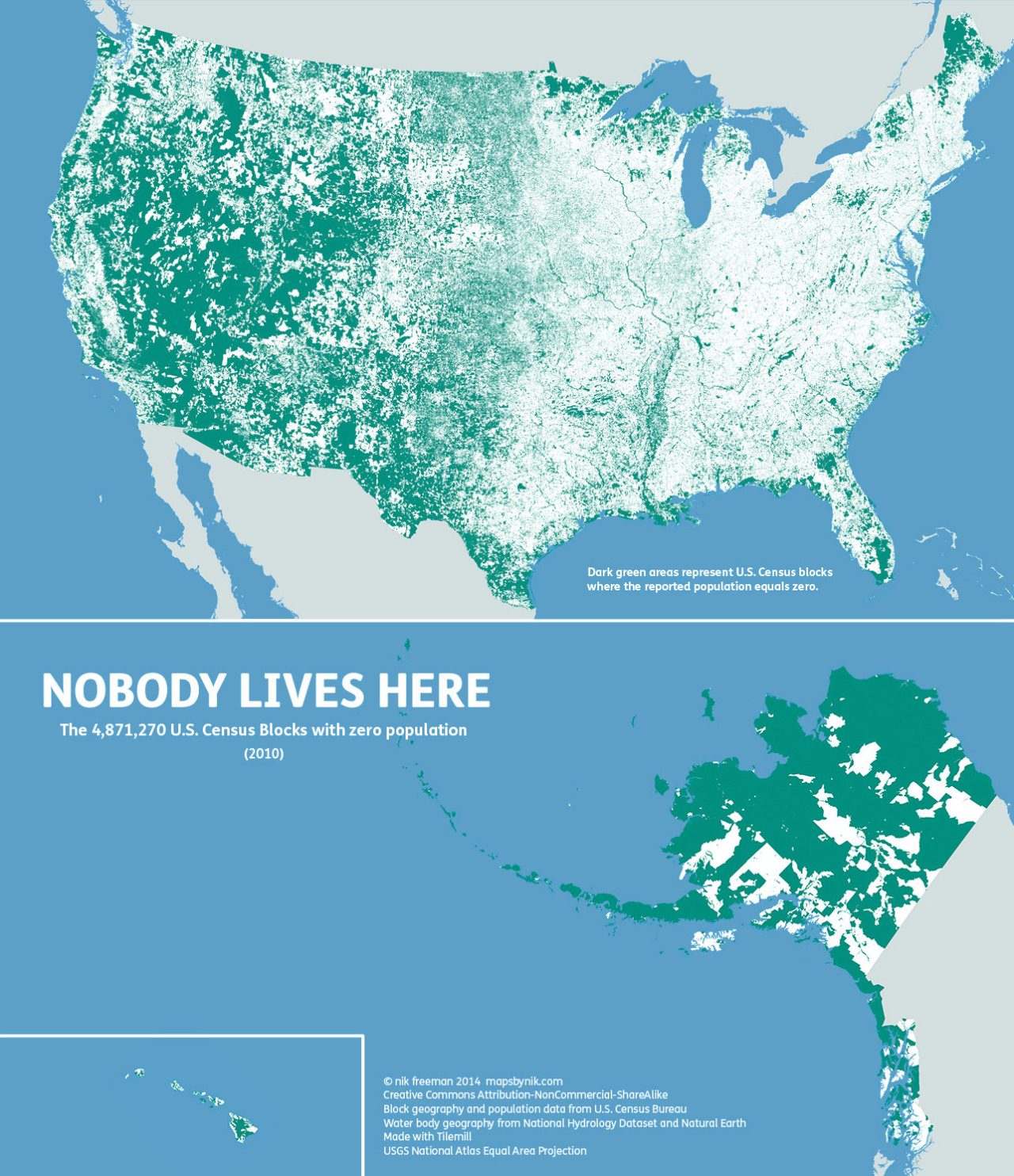 hight resolution of nobody lives here the nearly 5 million census blocks with zero population