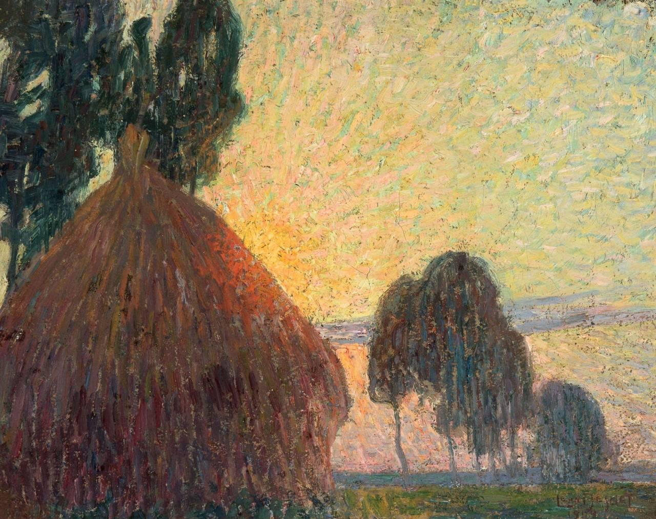"""thunderstruck9: """" Léon De Smet (Belgian, 1881-1966), Meule de foin au coucher du soleil [Haystack at Sunset], 1904. Canvas, 27.8 x 25.6 cm. """""""