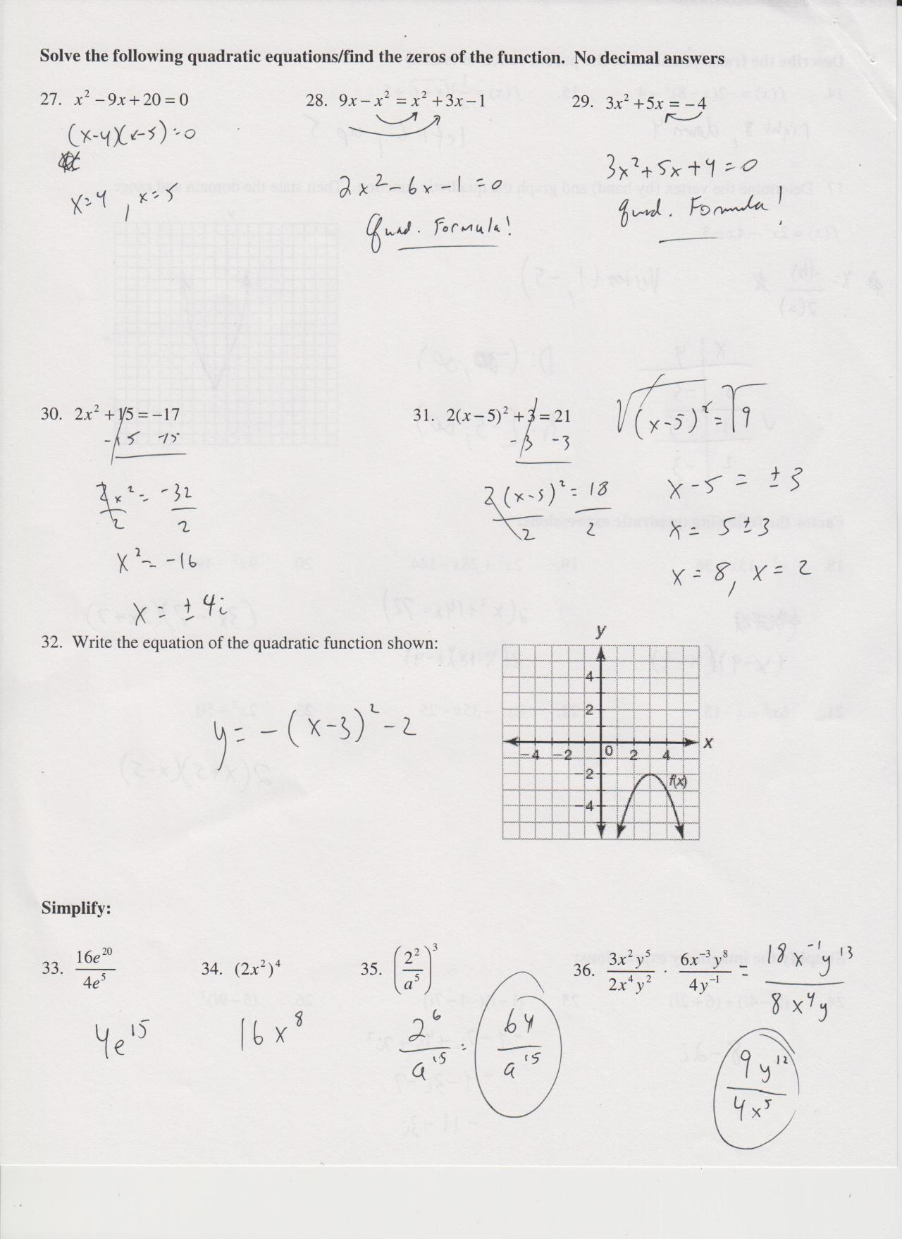 Math Class is AWESOME!!! — here's a partial answer key to