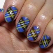preppy nails blue plaid nail decals