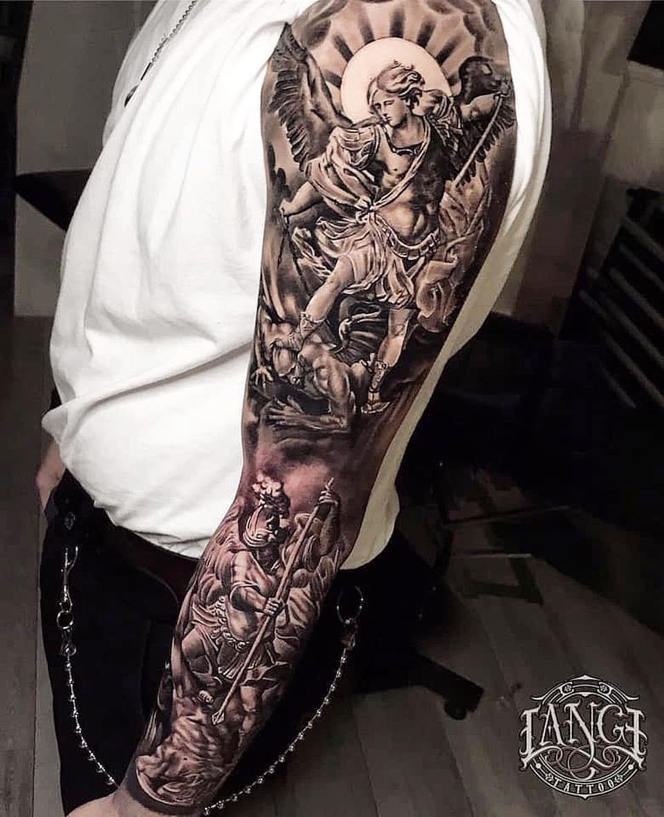 Good And Evil Sleeve Tattoos : sleeve, tattoos, Tattoo, Drawings, Design