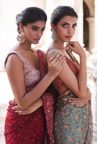 """""""The Merchant Princess by Shyamal and Bhumika Models: Archana Akhil Kumar & Arshia Ahuja; depicting contrasting sarees in the color combinations of pink and red, blue and red """""""