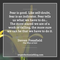 "#108 - ""Fear is good. Like self-doubt, fear is an indicator. Fear tells us what we have to do…The more scared we are of a work or calling, the more sure we can be that we have to do it."" -Steven Pressfield (The War of Art)https://imperfectionistblog.com/book/the-war-of-art-by-steven-pressfield/"