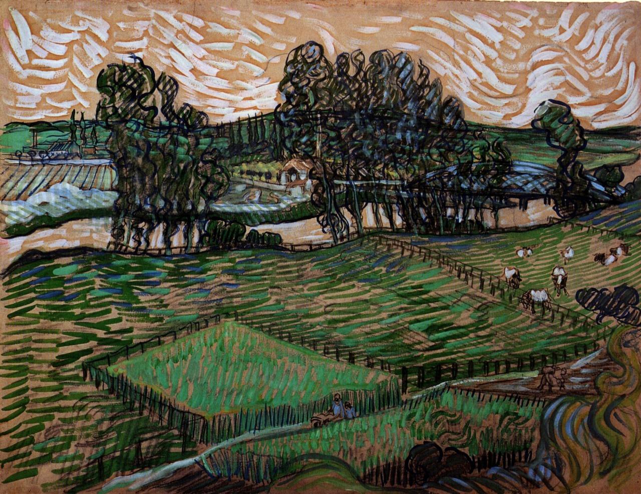 "dappledwithshadow: "" Vincent van Gogh, Landscape with Bridge across the Oise, 1890. Gouache and watercolor """