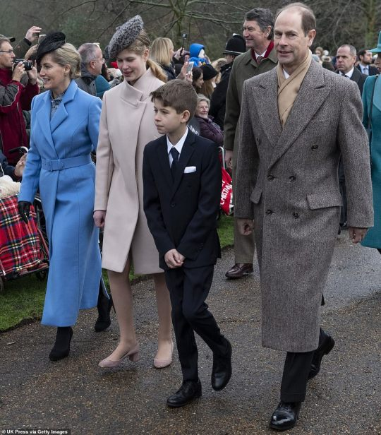 Prince Edward, Earl of Wessex and Sophie, Countess of Wessex with James Viscount Severn and Lady Louise Windsor attend Christmas Day Church service