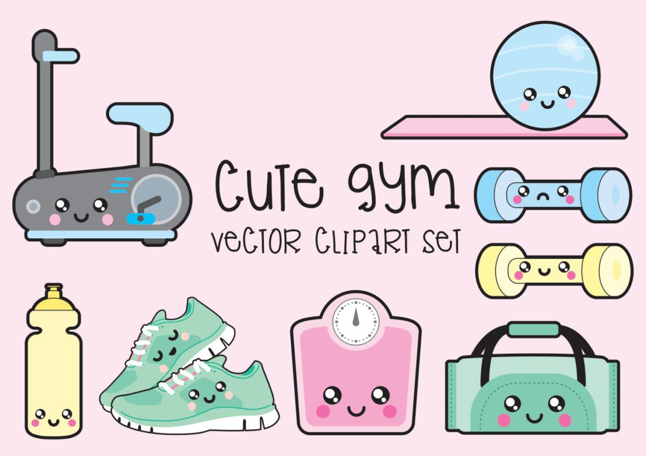 hight resolution of premium vector clipart kawaii workout clipart kawaii gym clip art set high quality