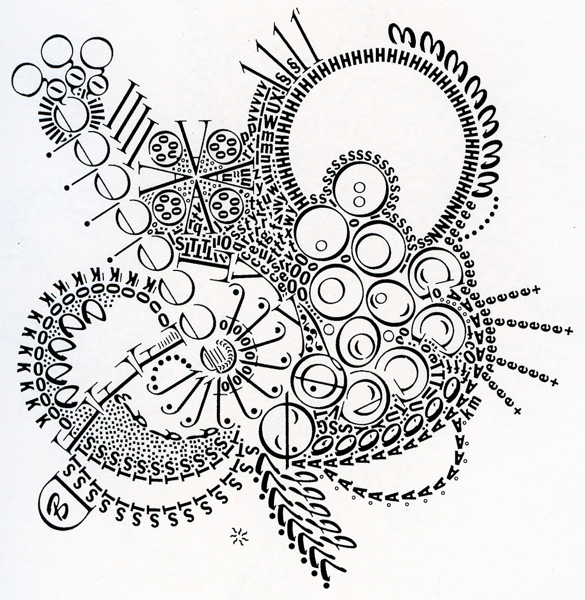 visual-poetry: letraset drawing by kelly mark