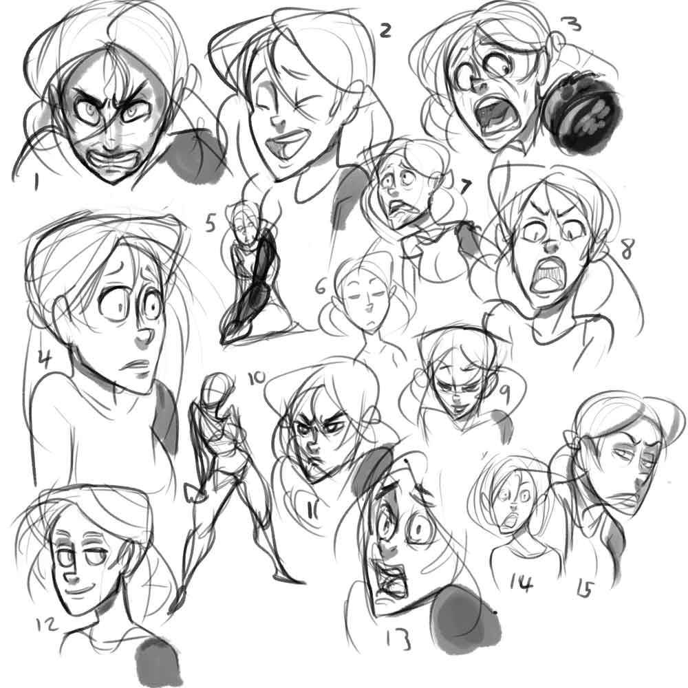 Can of Toast Animation: Summerland sketches, Alissa's face.