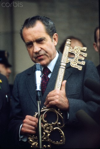 "phony-time-traveler: "" stupidsexynixon: "" US President Richard Nixon with a huge ass key. "" He's going to fight the darkness """