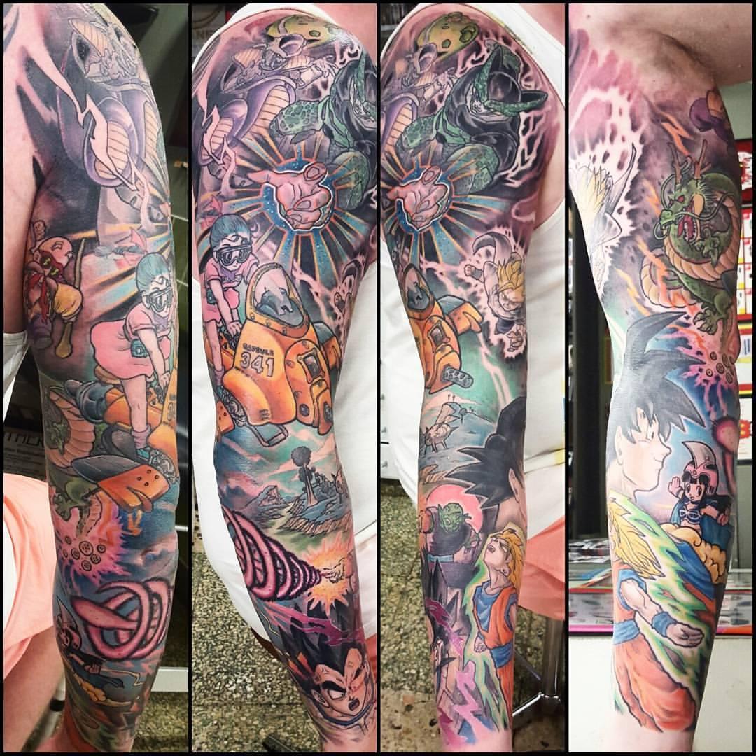 Dragon Ball Z Half Sleeve Tattoo