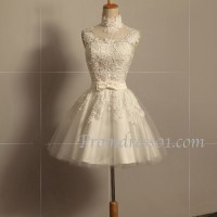 Prom Dress Project  2015 white lace short prom dress