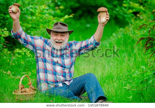 Old bearded man, holding aloft two mushrooms and smiling.