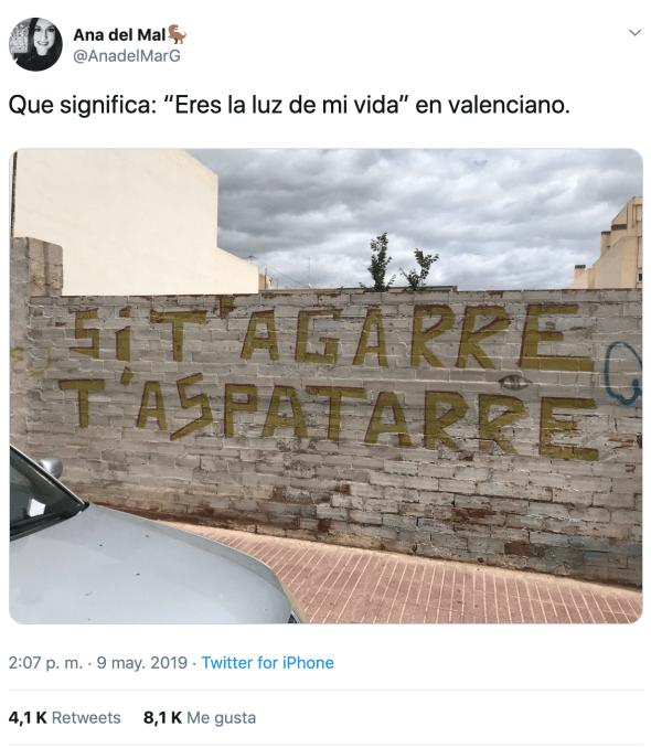 Declaración de amor en valenciano