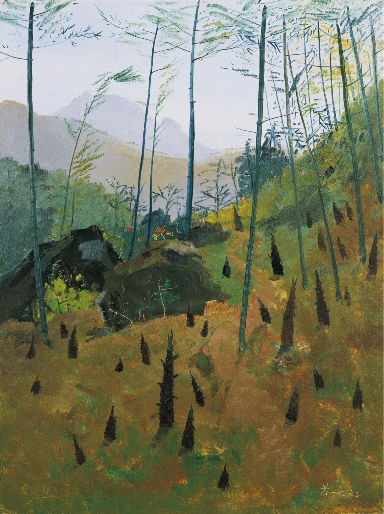 "thunderstruck9: "" Wu Guanzhong (Chinese, 1919-2010), Spring bamboo shoots, 1963. Oil on board, 61.3 x 46 cm """