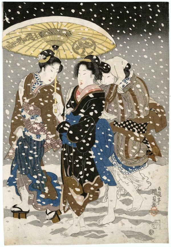Zen In Technicolor Three Women Snow Utagawa